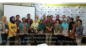 """Pusat Studi Satwa Primata (PSSP) LPPM – IPB bekerjasama dengan IPB International Certified Training (IICT), PT Bogor Life Science and Technology melakukan pelatihan pada tanggal 28 – 29 Maret 2016 di IPB Science Park, Taman Kencana 3, Bogor. Pelatihan yang diselenggarakan berjudul """"Penggunaan Hewan Laboratorium dalam Riset Biomedis"""""""
